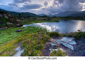 Killarney National Park - Evening sky over lakes in...