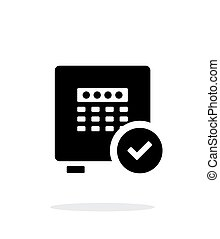 Strongbox check icon on white background. Vector...