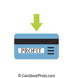 Bank card with profit coming - Blue bank card with arrow as...