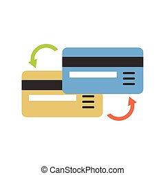 Bank transactions - Two bank cards with arrow as sign of...