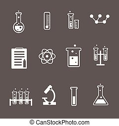 Set of white science and research icons on a grey background...