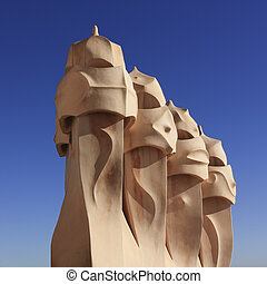 Gaudi Chimneys, Barcelona - Gaudi Chimneys at Casa Mila also...