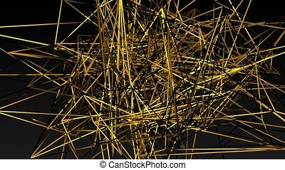 Abstract yellow lines on a black
