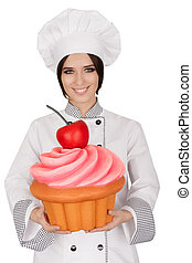 Pastry Chef Holding Huge Cupcake - Portrait of a...