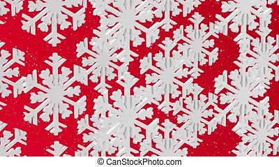 White snowflakes on a red backgroun