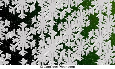 White snowflakes on a green backgro