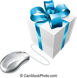 Online present gift mouse concept - Mouse and gift online...