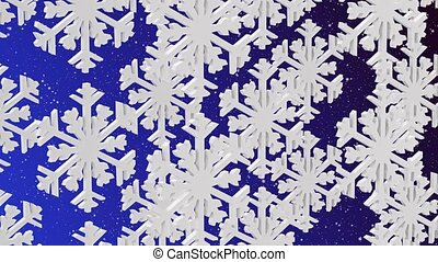 White snowflakes on a blue backgrou