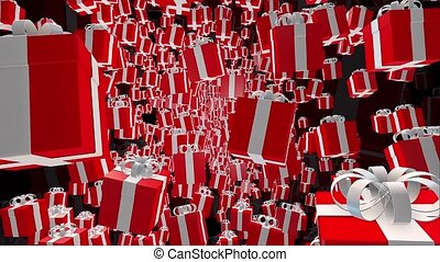 Red Gift boxes on a black background