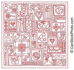 Geometric christmas doodle hand drawn pattern. Template...