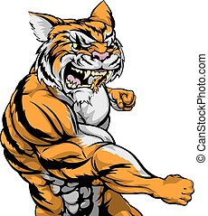 Tiger character fighting - A tough muscular tiger character...