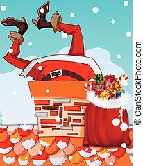 Santa Claus stuck in chimney - Santa Claus stuck in the...
