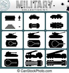 Various Military Vehicles. Vector Icons - Various Military...