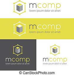 Vector modern logo for web studio or finance company set