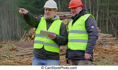 Forest Officers talking near piles of logs in forest