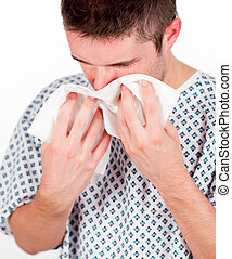 Young patient with flu and tissue - Young patient with...