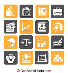 Business, finance and bank icons - Silhouette Business,...
