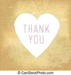 Thank You Card with Heart Symbol on Aged Paper Texture
