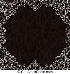 Vintage Frame Design On Wooden Background For Greeting Card