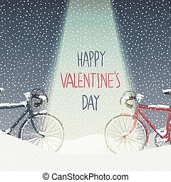 Valentines Card Snow Covered Bicycles, Calm Winter Scene