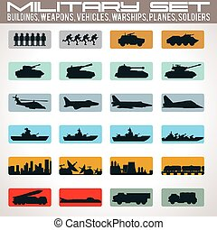 Military Icons Set. Include - Buildings, Tanks, Vehicles,...