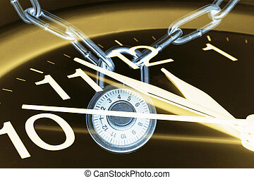 Clock and Combination Lock - Composite of Clock and...
