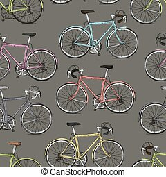 Vintage Multi-Colored Bicycles Seamless Pattern