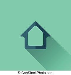 Blue home icon Flat design Turquoise background