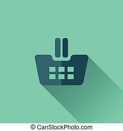 Blue shopping cart icon Flat design Turquoise background
