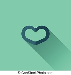 Blue heart icon. Flat design. Turquoise background
