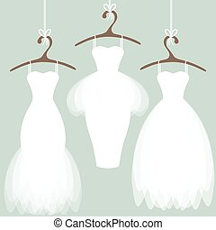 Wedding dresses on hangers