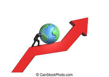 businessman push 3d globe upward on red trend line with...
