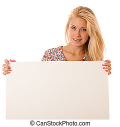 nde woman holding a blank white board in her hands for...