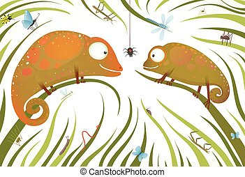 Two Childish Colorful Lizards with Insects in Grass - Funny...