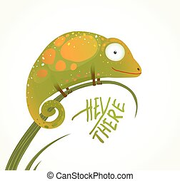 Colorful Lizard Childish Animal Fun Cartoon with Sign Hey...