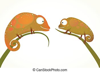 Two Colorful Lizards Sitting on Grass Animal Cartoon -...