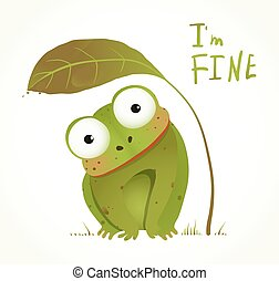 Green Baby Frog Childish Animal Fun Cartoon - Hand drawn...