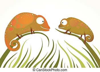 Two Colorful Lizards Sitting on Grass Background Staring -...