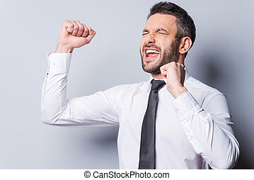 Happy businessman Happy mature man in shirt and tie...