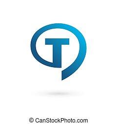 Letter T speech bubble logo icon design template elements