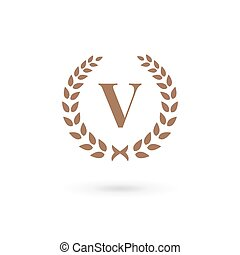 Letter v laurel wreath logo icon design template elements