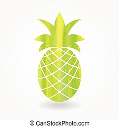 Green watercolor pineapple icon. Eps10