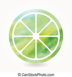 verde, acquarello, calce, icona,