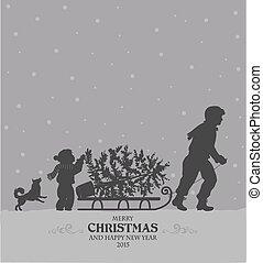Christmas preparing - Christmas retro stylized card with Dad...