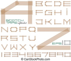 Scotch tape alphabet and set of numbers