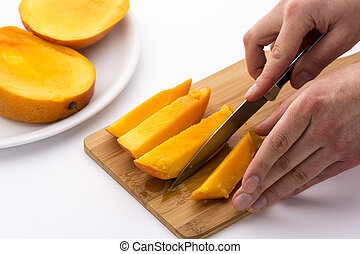 Knife Finished Cutting Off A Fourth Mango Chip - Pair of...