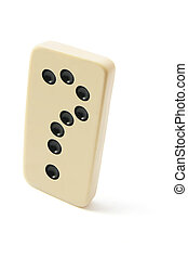 Domino with Question Mark on Isolated White Background