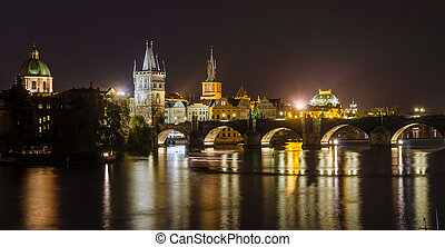 Night view of Vltava river and bridges in Prague