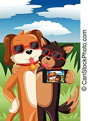 Dogs taking a selfie - A vector illustration of stylish dogs...