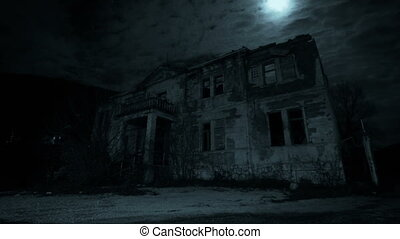 Abandoned building at night